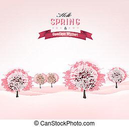 vector., primavera, fioritura, sakura, fondo, alberi.