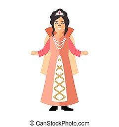 Vector Princess. Flat style colorful Cartoon illustration.