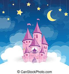 vector, prinsesje, droom, kasteel