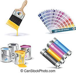 Vector print shop icon set. P.1 - Set of prepress and print...