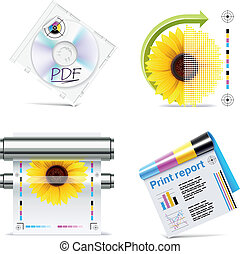 Vector print shop icon set. P.6 - Set of prepress and print...