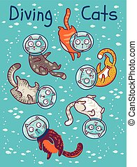 Vector print with cats in ocean - Set of diving cats in...