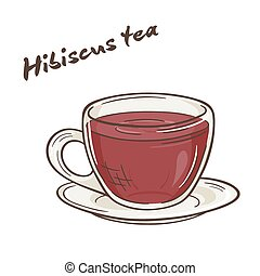 vector printable illustration of isolated cup of hibiscus...