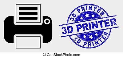 Vector Printer Icon and Distress 3D Printer Stamp