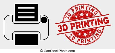 Vector Printer Icon and Distress 3D Printing Watermark