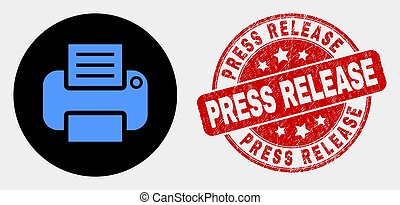 Vector Printer Icon and Distress Press Release Stamp Seal