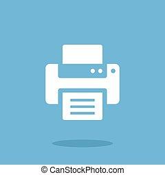 Vector printer icon. White printer