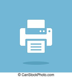 Vector printer icon. White printer