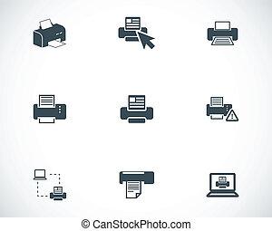 vector, printer, set, balck, iconen