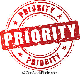 Vector illustration of red priority stamp on white background