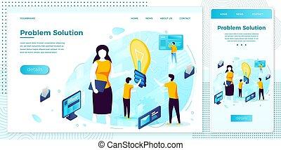 Vector problem solution people, idea light bulb