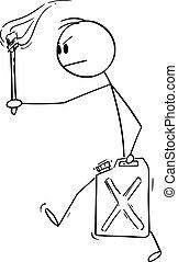 vector, proceso de llevar, llameante, enojado, gasolina, jerry, jerrican, lata, antorcha, o, hombre de negocios, caricatura, gas, ilustración, hombre