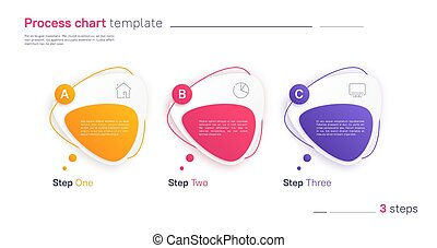 Vector process chart infographic template in the form of horizontal row composed of triangular rounded shapes. Three steps