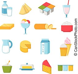 vector, productos, leche, illustration.