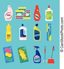 vector, productos, limpieza