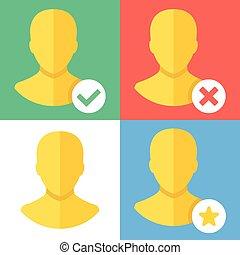 Vector profile icon set. Flat style