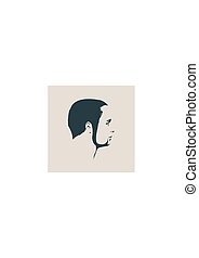 Vector profile view of bearded man. Isolated male face ...