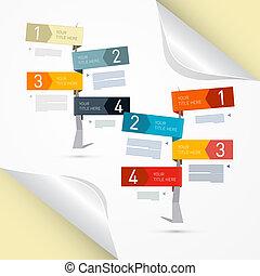 Vector Progress Steps for Tutorial, Infographics on Paper Background