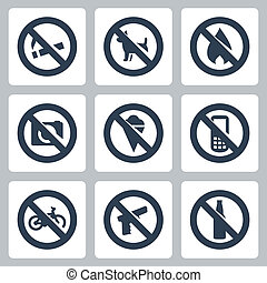 "Vector ""prohibitory signs"" icons set: no smoking, no dogs,..."