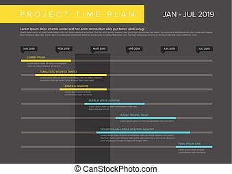 project plan schedule chart with timeline gantt progress vector