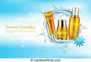 Vector promo banner for summer spf cosmetics. - Vector...