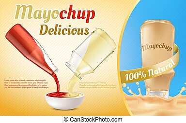 Vector promotion banner of mayochup sauce