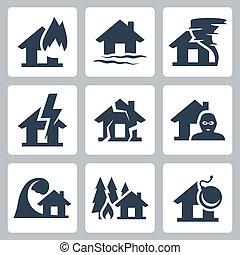 vector, propiedad, conjunto, seguro, iconos