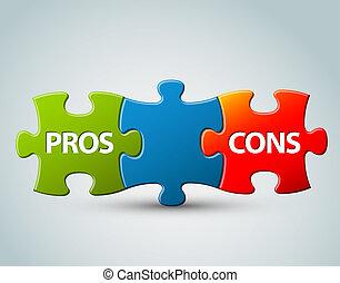 vector, pros, en, cons, model, illustratie