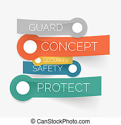 Vector protection tag cloud of stickers