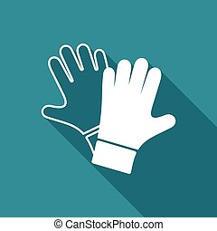 Vector protective gloves pair icon long shadow design