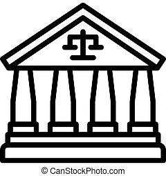 vector, protesta, icono, tribunal, relacionado