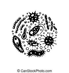 vector, protozoa., infusorium, diferente, virus, hongos, ...