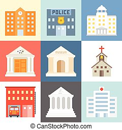 Vector public building icons set