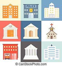 Vector public building icons set