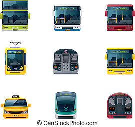 Vector public transport icons - Set of the detailed icons...