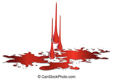 Vector puddle of blood with drops isolated on white ...