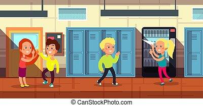 vector, puerta, pasillo, caricatura, escuela, alumnos, ilustración, aula