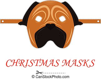 Vector pug Christmas mask for party and carnival. 2018 year of dog. Isolated on white background.