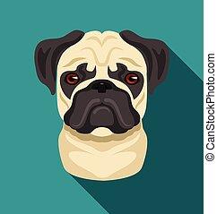 Vector pug dog