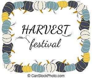 Vector pumpkin frame for harvest festival