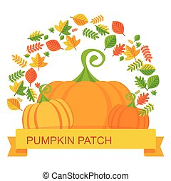 vector pumpkin patch leaves