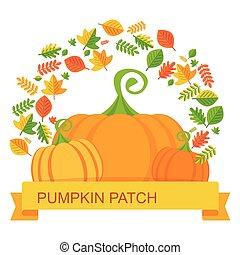 vector pumpkin patch leaves