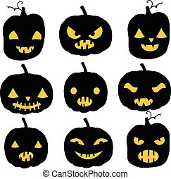 Vector pumpkin silhouettes in black color with yellow eyes and mouths - different expressions for Halloween invitations and backgrounds