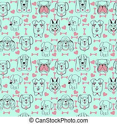 pattern with pet cute dogs trendy background in sketch