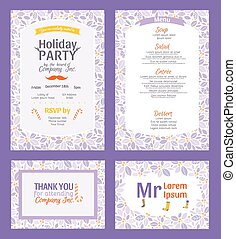 Vector Puprle Holiday Party Invitation Set With Holly Berry...