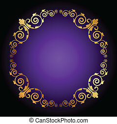 purple background with floral decor