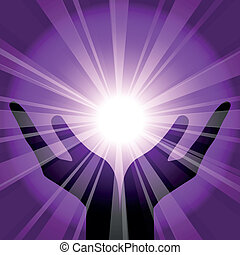 background with hands - Vector purple background with hands