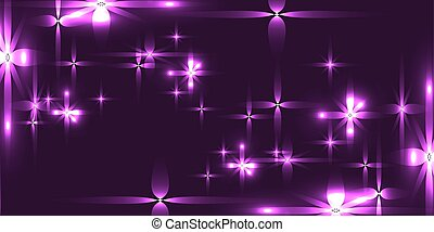 Vector purple background with shining light metal stars.