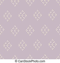 Vector purple dotted rhombus seamless pattern background