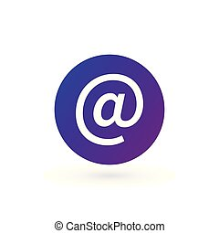 Vector purple e-mail internet icon button. Vector illustration isolated on white background.